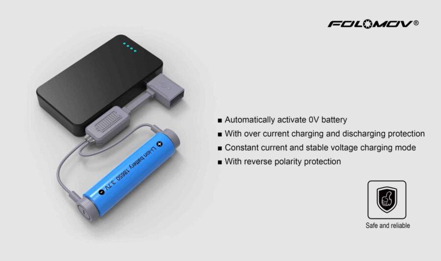 Магнитно usb зарядно folomov a1 за li-ion батерии